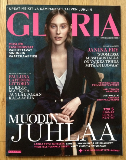 Cover Photo of Gloria Magazine Nov. 16